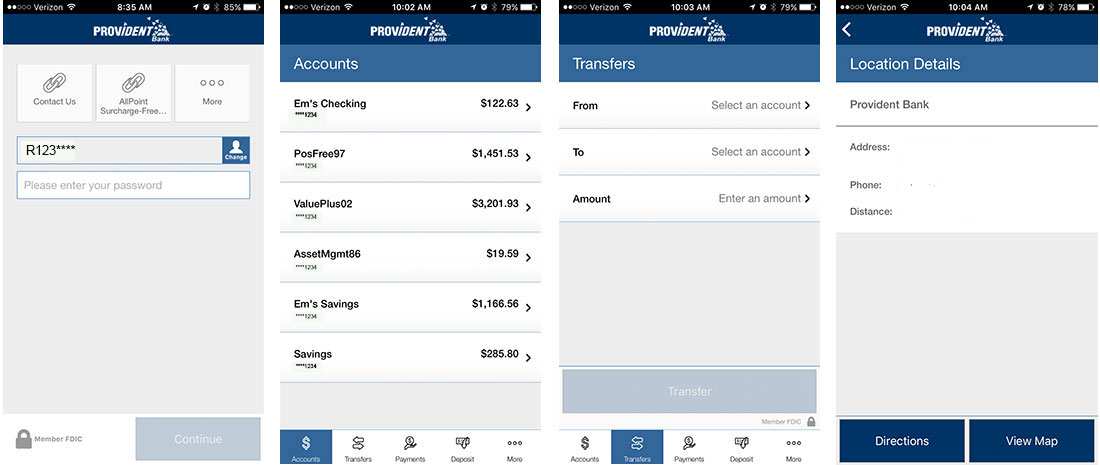 Image Samples of Mobile Banking Screens for sign in page, account summary, transfer money page, and locations page